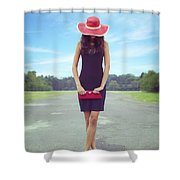 Woman On Street Shower Curtain