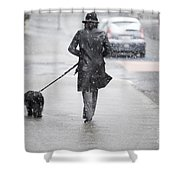 Woman Walking On The Street Shower Curtain