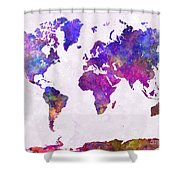 World Map In Watercolor  Shower Curtain
