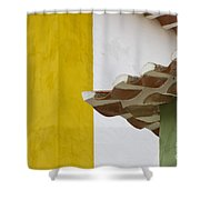 Yellow And Green Lines To The Roofs Shower Curtain