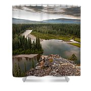 Yukon Canada Taiga Wilderness And Mcquesten River Shower Curtain
