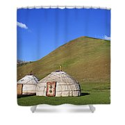 Yurts In The Tash Rabat Valley Of Kyrgyzstan  Shower Curtain
