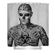 Zombie Boy Rick Genest Shower Curtain by Carlos Velasquez Art