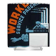 New Deal Wpa Poster Shower Curtain