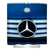 2003 Cl Mercedes Hood Ornament And Emblem Shower Curtain