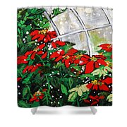 2013 010 Poinsettias And Dots Conservatory At The Us Botanic Garden Washington Dc Shower Curtain