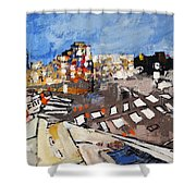 2013 015 Crosswalk Silver Orange And Blue Arlington Virginia Shower Curtain