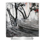 2013 058 Tree And Ladder Alexandria Virginia Silver Black White Red Shower Curtain