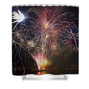 2013 Independence Day Fireworks Display On Portland Oregon Water Shower Curtain