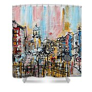 2014 23 City Street With Church At Sunset Srpsko Sarajevo Shower Curtain