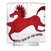 2014 Abstract Red Chinese Horse Illustration Shower Curtain