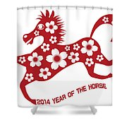 2014 Abstract Red Chinese Horse With Flower Illustration Shower Curtain