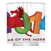 2014 Horse Leaping Over Numerals Isolated Shower Curtain