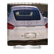 2014 Porsche Cayman White Shower Curtain