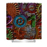 2014 Rusty Gear On Grunge Texture Background Shower Curtain