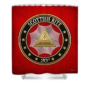 20th Degree - Master Of The Symbolic Lodge Jewel On Red Leather Shower Curtain