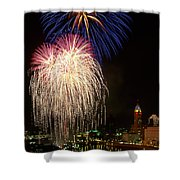 21l106 Red White And Boom Fireworks Photo Shower Curtain