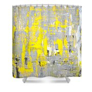 Imagination - Grey And Yellow Abstract Art Painting Shower Curtain