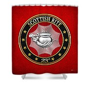 23rd Degree - Chief Of The Tabernacle Jewel On Red Leather Shower Curtain