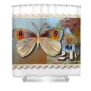 24 Cent Butterfly Stamp Shower Curtain