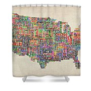 United States Typography Text Map Shower Curtain
