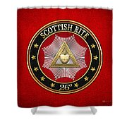 26th Degree - Prince Of Mercy Or Scottish Trinitarian Jewel On Red Leather Shower Curtain