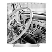 1933 Pontiac Steering Wheel -0463bw Shower Curtain