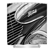 1939 Ford Woody Wagon Side Emblem Shower Curtain