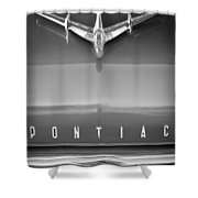 1955 Pontiac Safari Hood Ornament Shower Curtain