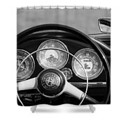 1961 Alfa Romeo Giulietta Spider Steering Wheel Emblem -1185bw Shower Curtain