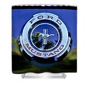 1965 Shelby Prototype Ford Mustang Emblem Shower Curtain by Jill Reger