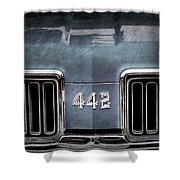 1970 Oldsmobile 442 Grille Emblem Shower Curtain