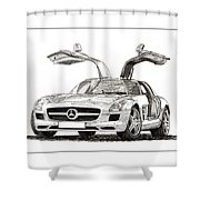 Gull Wing Mercedes Benz S L S Gull-wing Shower Curtain