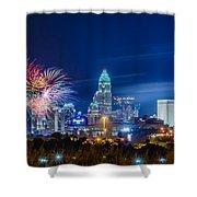 4th Of July Firework Over Charlotte Skyline Shower Curtain by Alex Grichenko