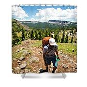 A Backpacker Hiking Shower Curtain