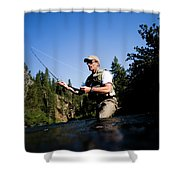 A Fly-fisherman In The Truckee River Shower Curtain