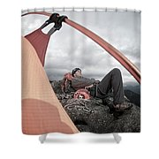 A Man Setting Up A Tent Shower Curtain