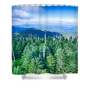 A Wide View Of The Great Smoky Mountains From The Top Of Clingma Shower Curtain