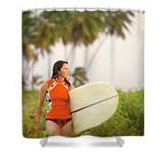 A Woman Carries A Surfboard To The Beach Shower Curtain