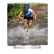 A Woman Mountain Bikes Along Trail 401 Shower Curtain