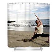 A Women At The Beach Performing Yoga Shower Curtain