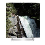 A Young Man Rappels Down A Cliff Next Shower Curtain