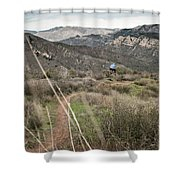 A Young Man Rides His Downhill Mountain Shower Curtain