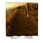 A Young Woman Runs Along The Dog Shower Curtain