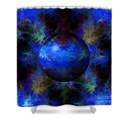 Abstract Blue Globe Shower Curtain