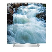 Alluvial Fan Falls On Roaring River In Rocky Mountain National Park Shower Curtain