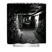 A Tunnel In The Catacombs Of Paris France Shower Curtain