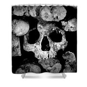 Altered Image Of Skulls And Bones In The Catacombs Of Paris France Shower Curtain