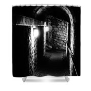 Altered Image Of The Catacomb Tunnels In Paris France Shower Curtain