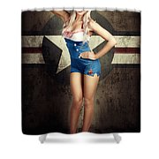 American Fashion Model In Military Pin-up Style Shower Curtain